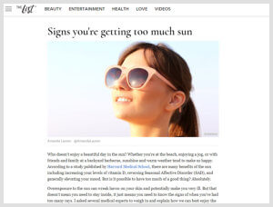 Dr. Sheila Nazarian - Beverly Hills Plastic Surgeon - The List Article - Signs You Are Getting Too Much Sun