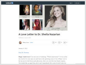 Nazarian Plastic Surgery - Linkedin Love Letter to Dr. Nazarian