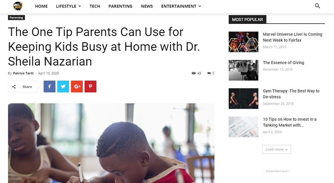 The One Tip Parents Can Use for Keeping Kids Busy at Home with Dr. Sheila Nazarian