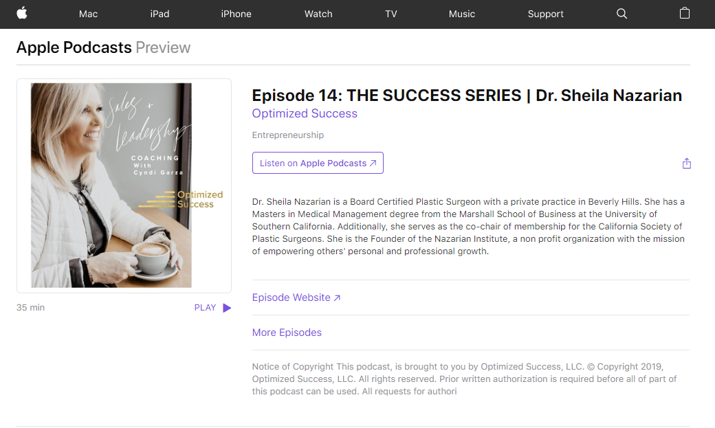 Episode 14: THE SUCCESS SERIES | Dr. Sheila Nazarian