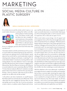 SOCIAL MEDIA CULTURE IN PLASTIC SURGERY