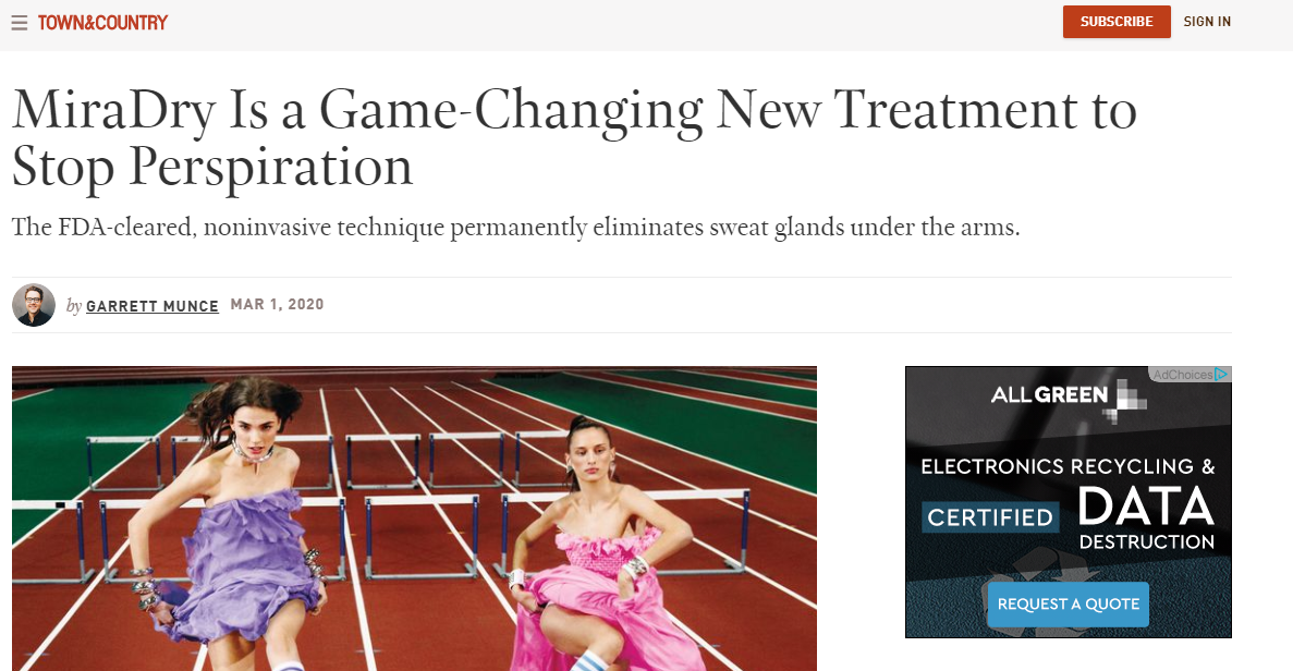 MiraDry Is a Game-Changing New Treatment to Stop Perspiration