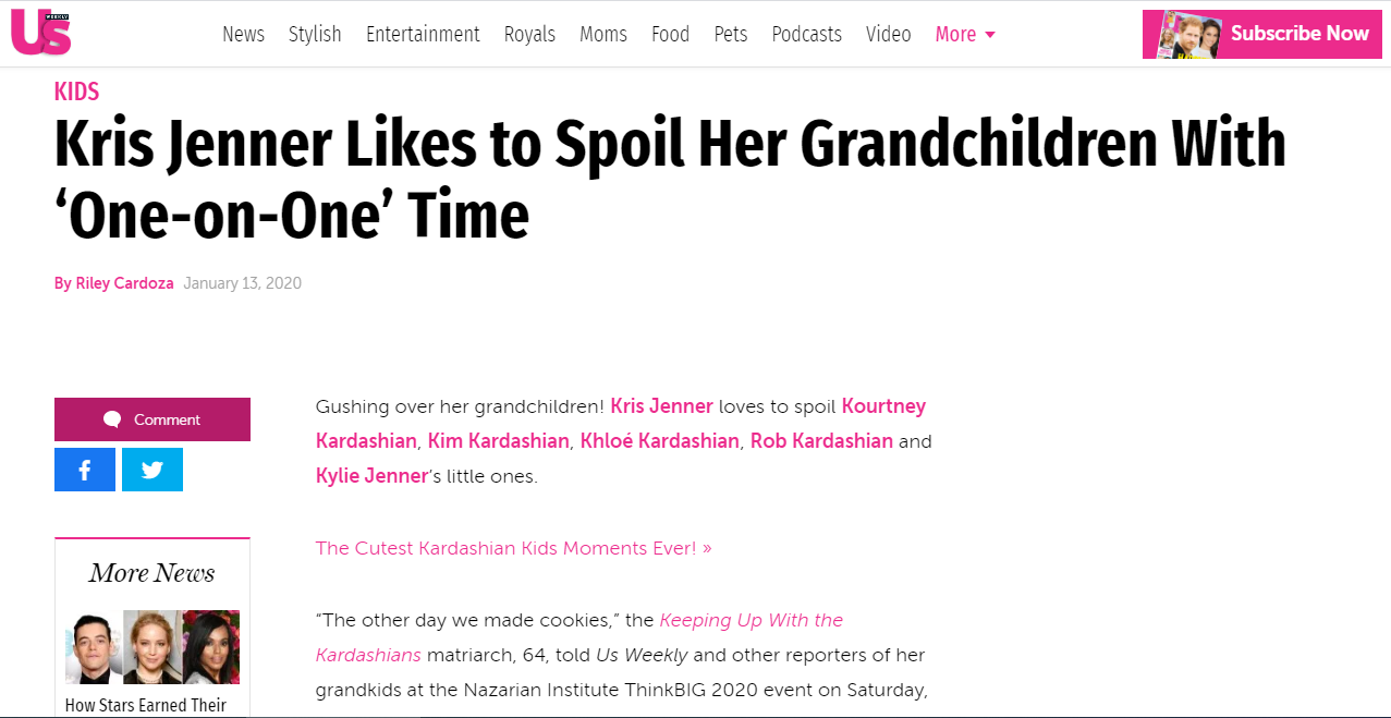 Kris Jenner Likes to Spoil Her Grandchildren With 'One-on-One' Time