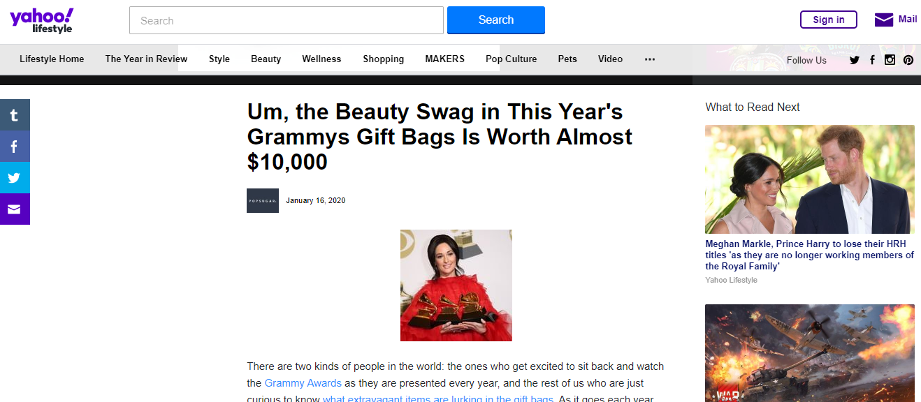 Um, the Beauty Swag in This Year's Grammys Gift Bags Is Worth Almost $10,000