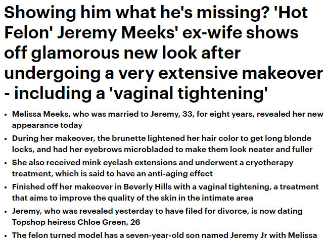 Showing him what he's missing? 'Hot Felon' Jeremy Meeks' ex-wife shows off glamorous new look after undergoing a very extensive makeover – including a 'vaginal tightening'