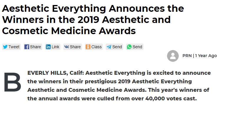Aesthetic Everything Announces the Winners in the 2019 Aesthetic and Cosmetic Medicine Awards