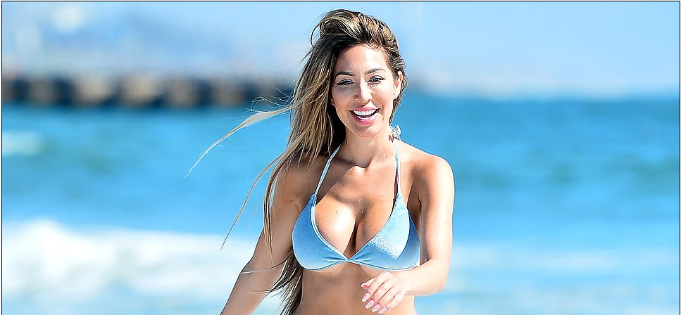 Farrah Abraham, 29, Flaunts Her Curves in a Pale Blue Bikini While Enjoying a Day at the Beach in Malibu With Her Daughter Sophia, 11