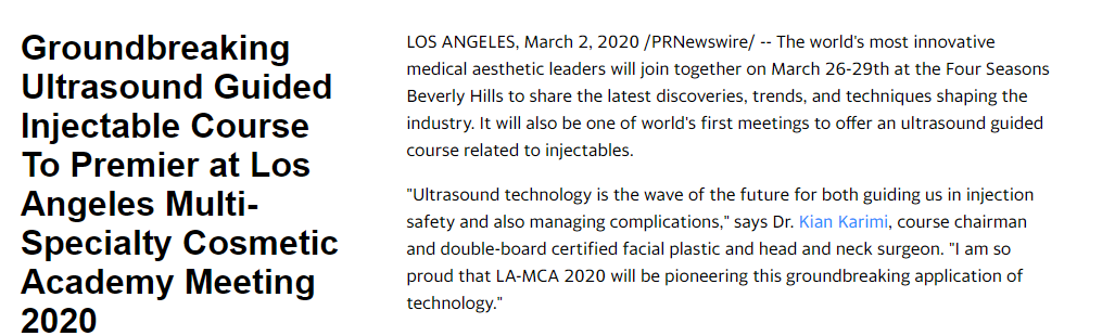 Groundbreaking Ultrasound Guided Injectable Course To Premier at Los Angeles Multi-Specialty Cosmetic Academy Meeting 2020