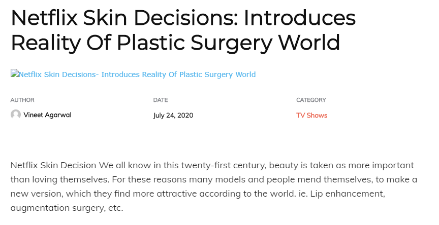 Netflix Skin Decisions: Introduces Reality Of Plastic Surgery World