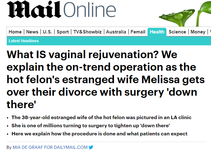 What IS vaginal rejuvenation? We explain the on-trend operation as the hot felon's estranged wife Melissa gets over their divorce with surgery 'down there'