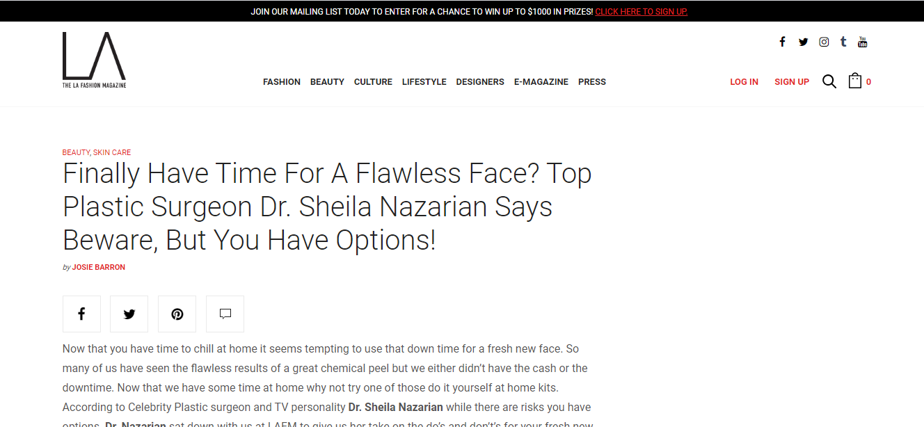 Finally Have Time For A Flawless Face? Top Plastic Surgeon Dr. Sheila Nazarian Says Beware, But You Have Options!