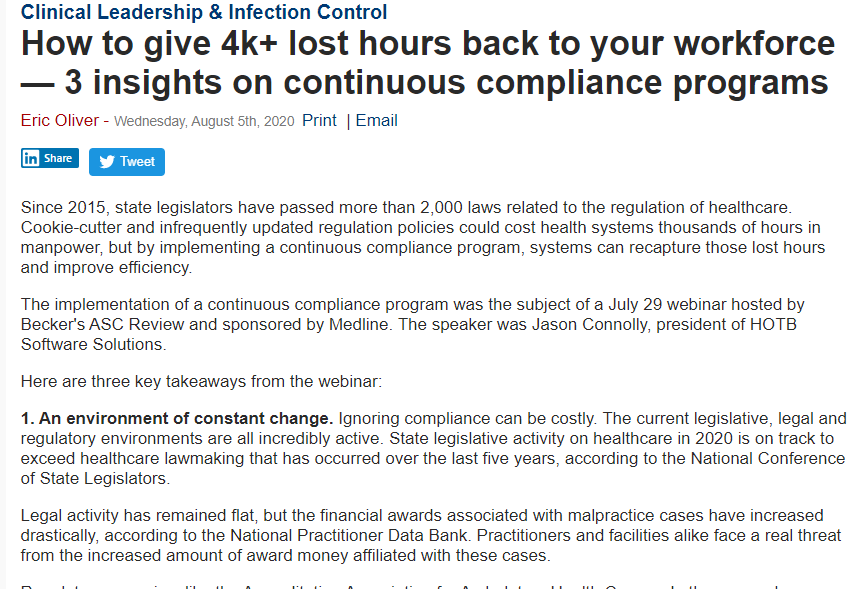 How To Give 4k+ Lost Hours Back To Your Workforce – 3 Insights on Continuous Compliance Programs. Becker's.