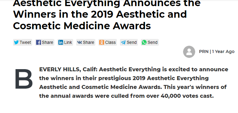 Aesthetic Everything Announces the Winner in the 2019 Aesthetic and Cosmetic Medicine Awards