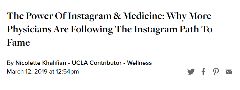 The Power of Instagram & Medicine: Why More Physicians Are Following the Instagram Path to Fame.